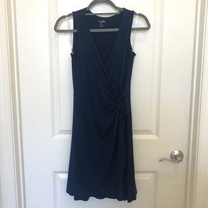 Navy Knit Wrap Dress